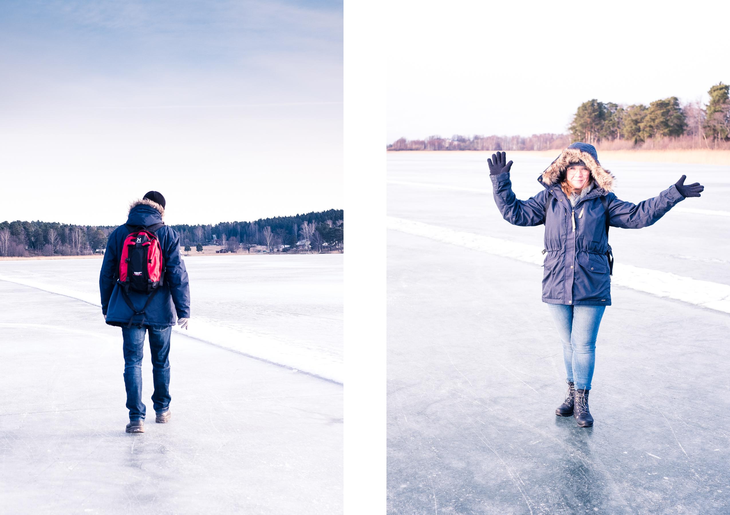 frilufsa på isen i bredsand med fjällräven singi winter jacket w